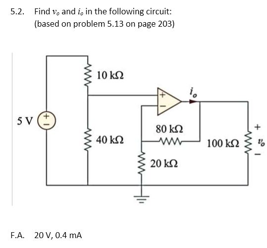 Find v0 and i0 in the following circuit: (based o
