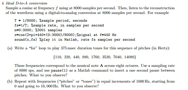 Sample A Cosine At Frequency F Using At 8000 Sampl...   Chegg.com
