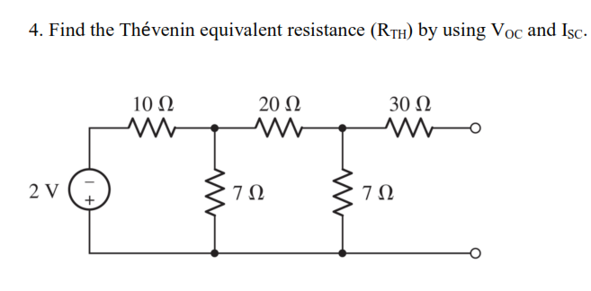Find the Thevenin equivalent resistance (RTH) by u