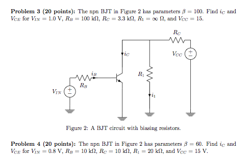 The npn BJT in Figure 2 has parameters beta = 100.