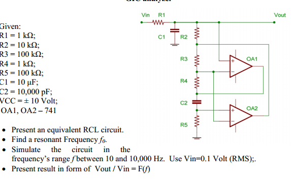 Present an equivalent RCL circuit. Find a resonan