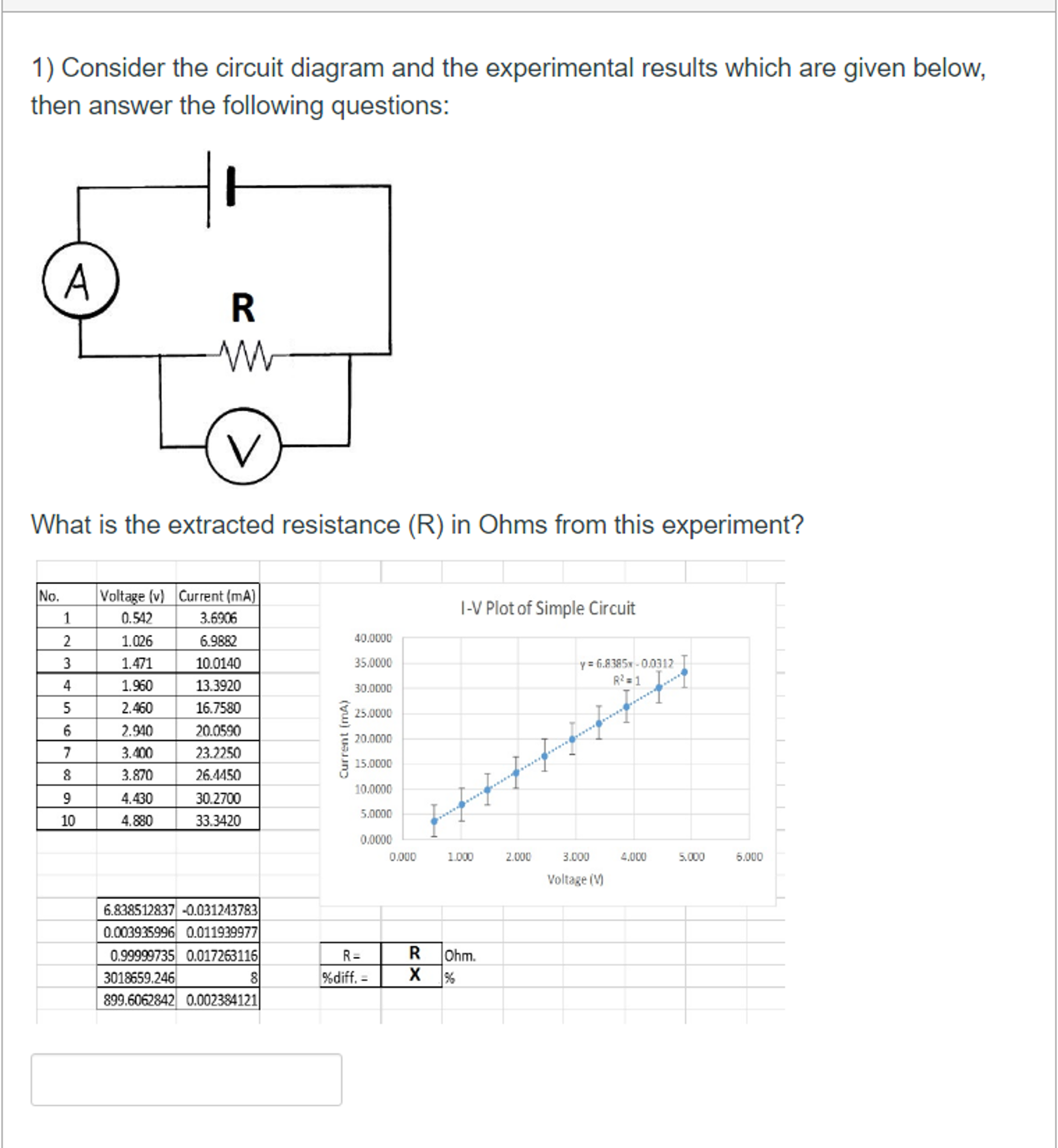 Solved  Consider The Circuit Diagram And The Experimental