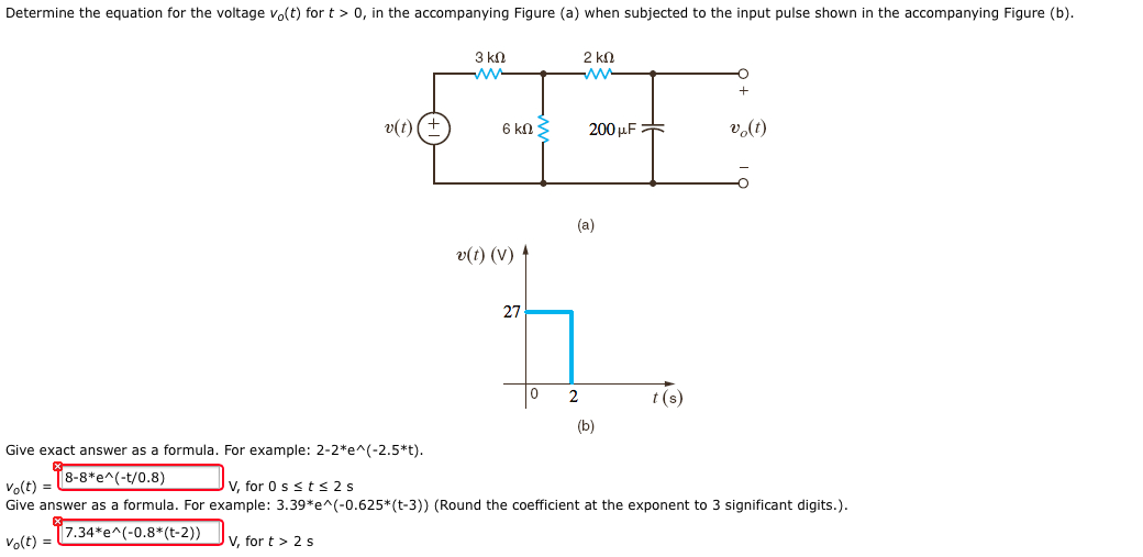 Determine the equation for the voltage v0(t) for t
