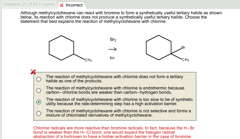 Although Methylcyclohexane Can React With Bromine ...   Chegg.com