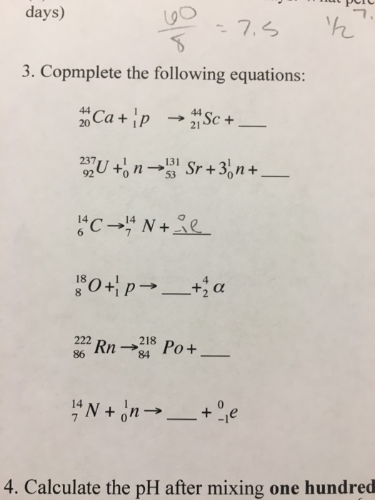 Complete The Following Equations 44 20 Ca 1 P