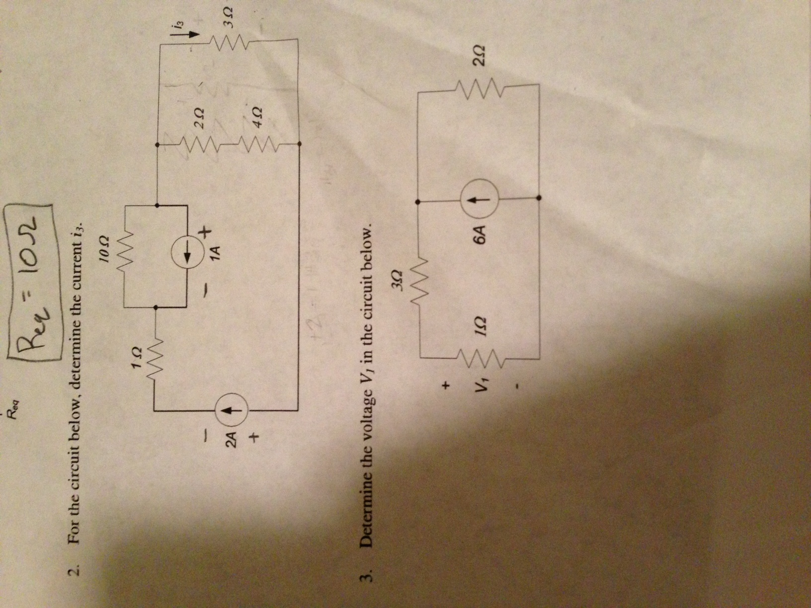 For the circuit below, determine the current i3.