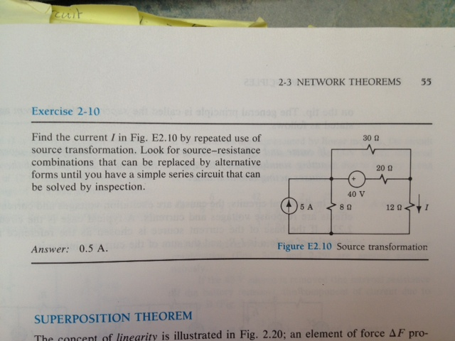 Find the current I in Fig. E2.10 by repeated use o