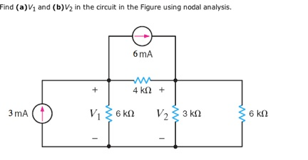Find(a)v1 and (b) v2 in the circuit in the Figure