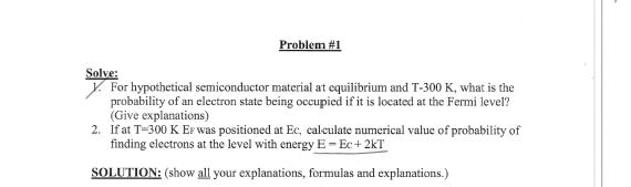 For hypothetical semiconductor material at equilib