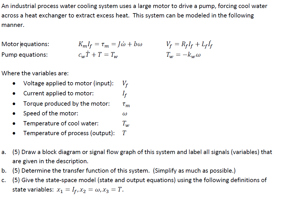 An industrial process water cooling system uses a