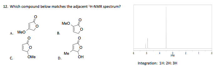 Which compound below matches the adjacent :H-NMR s