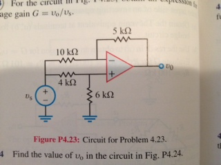 Circuit for Problem 4.23. Find the value of vo in