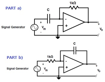 Analyze the op amp differentiator circuit (C = 0.1