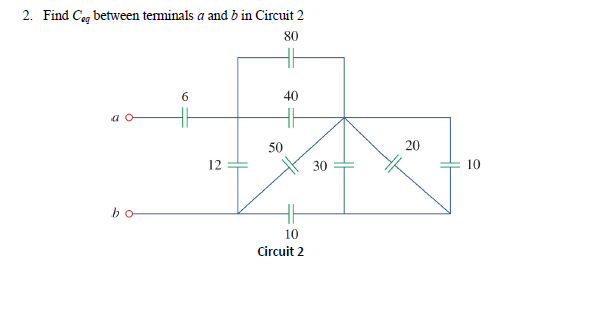 Find Ceq between terminals a and b in Circuit 2