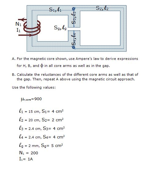 For the magnetic core shown, use Ampere's law to
