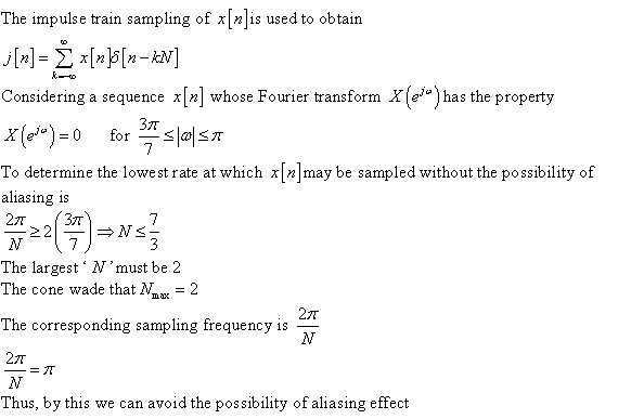 The impulse train sampling of x[n]is used to obtai