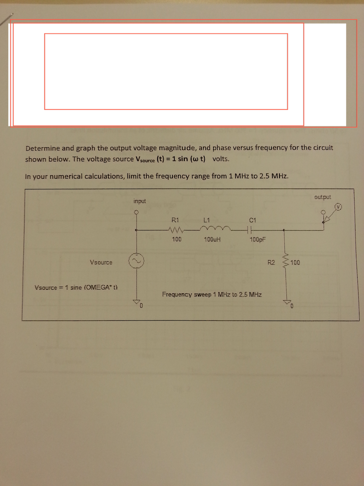 Determine and graph the output voltage magnitude,