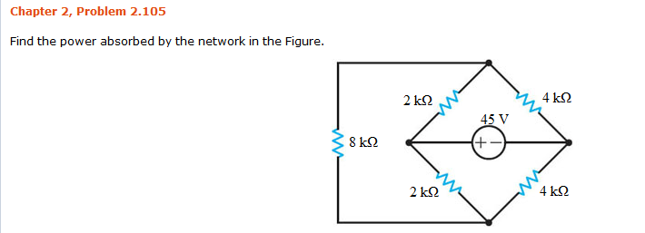 Find the power absorbed by the network in the Figu