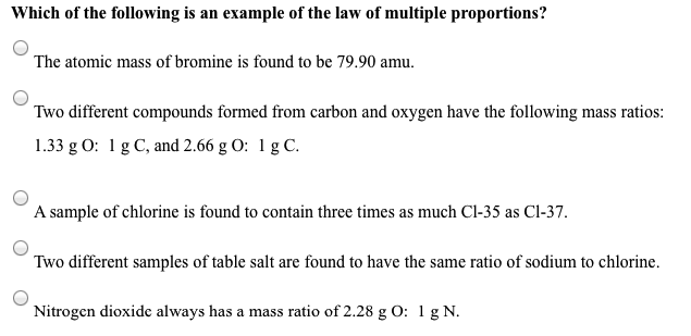 Solved: Which Of The Following Is An Example Of The Law Of ...