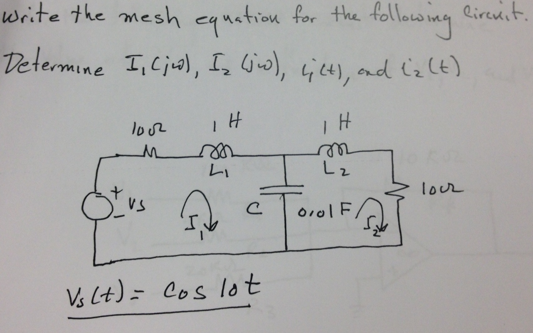 Write the mesh equation for the following circuit.