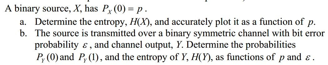 A binary source, X, has Px(0) = p. Determine the