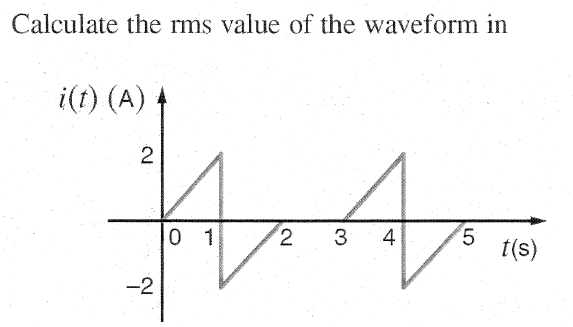 Calculate the rms value of the waveform in