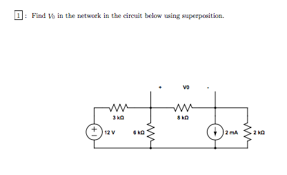 Find V0 in the network in the circuit below using