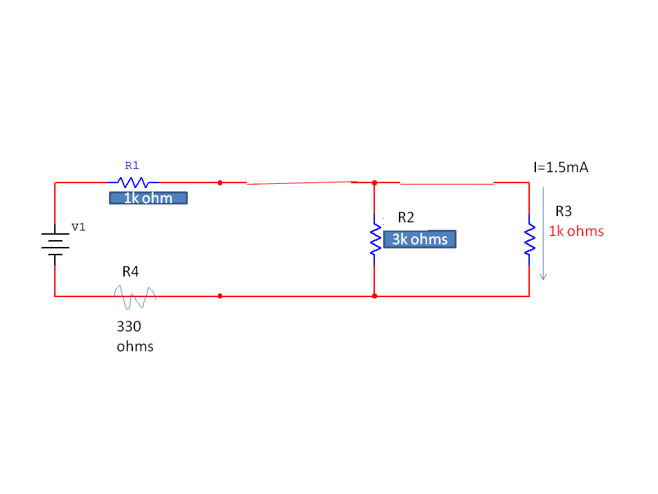 find the resistor voltages and current using KCL,