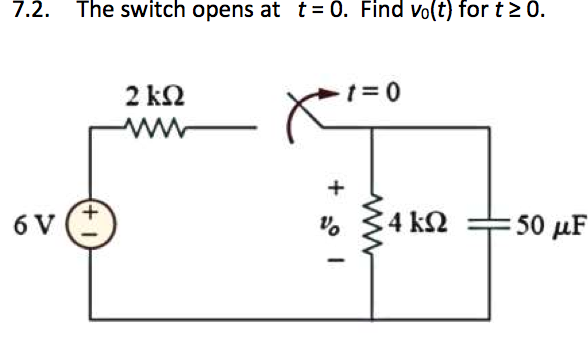 The switch opens at t = 0. Find V0 (t) for t 0.
