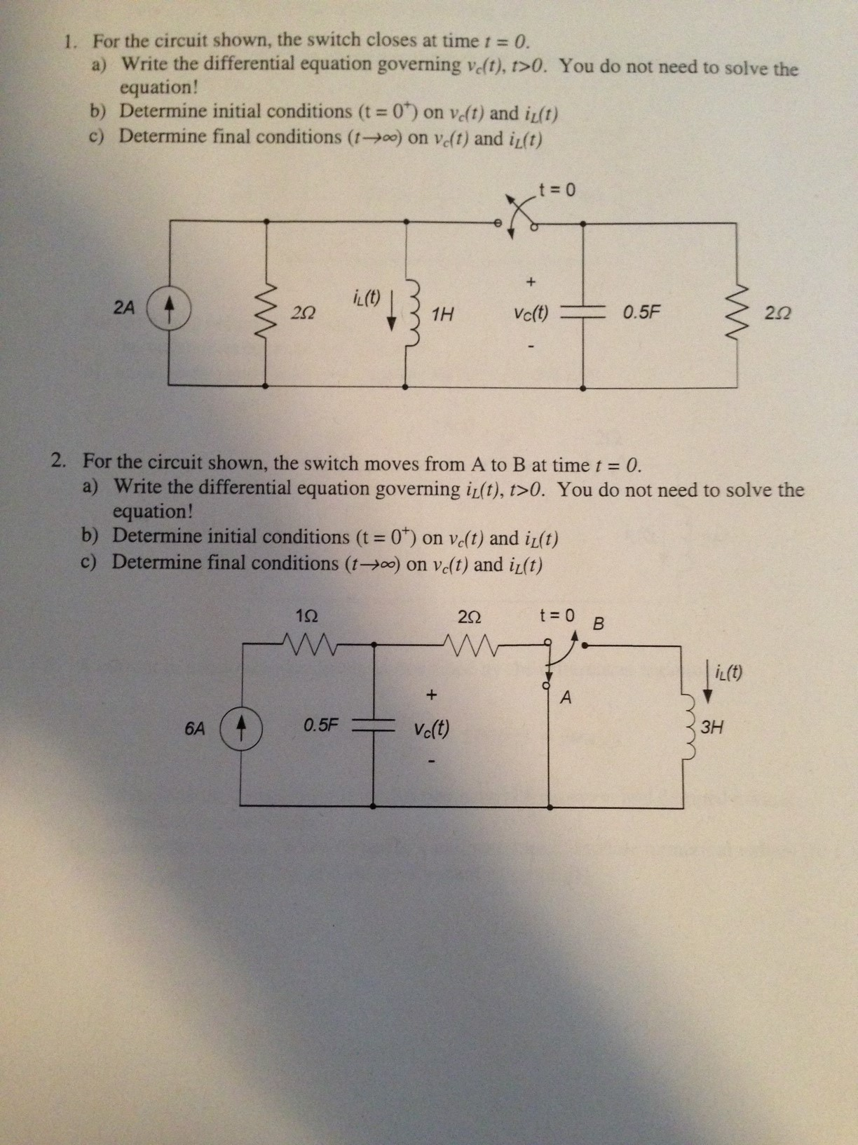 For the circuit shown, the switch closes at time t