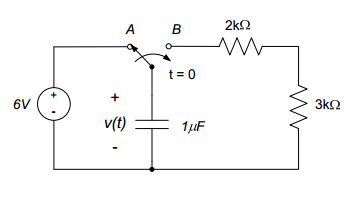 The switch in the circuit below moves from positio
