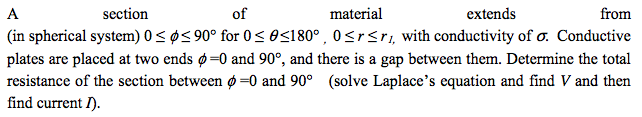 A section of material extends from (in spherical