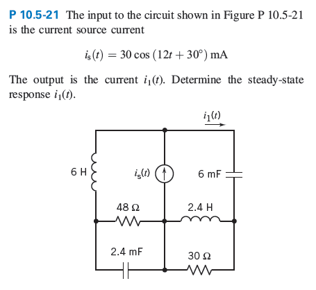The input to the circuit shown in Figure P 10.5-21