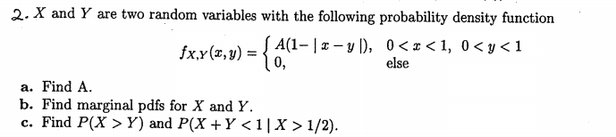 X and Y are two random variables with the followin