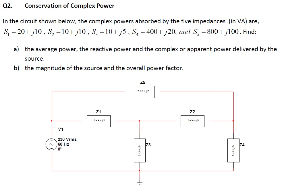 Conservation of Complex Power In the circuit show