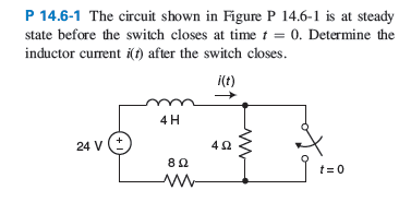 The circuit shown in Figure P 14.6-1 is at steady