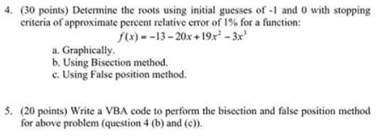 Determine the roots using initial guesses of -1 an