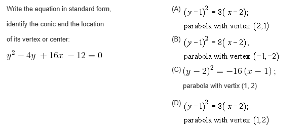 Solved Write The Equation In Standard Form Identify The