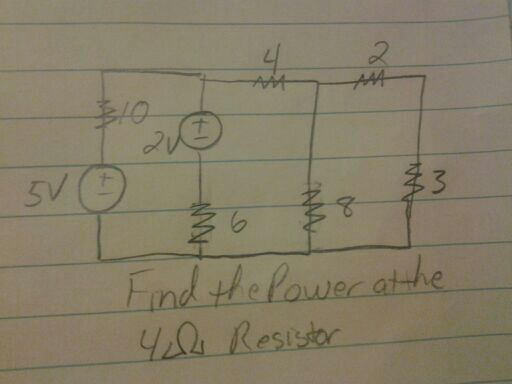 Find the power at the 4 ohm resistor