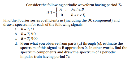 Consider the following periodic waveform having pe
