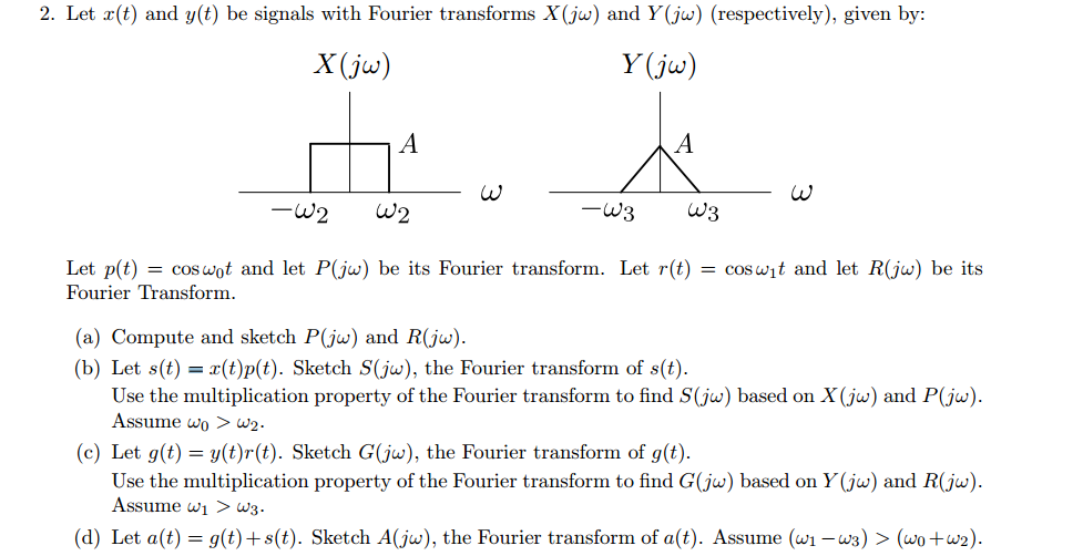 Let x(t) arid y(t) be signals with Fourier transfo