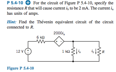 For the circuit for Figure P 5.4-10, specify the r