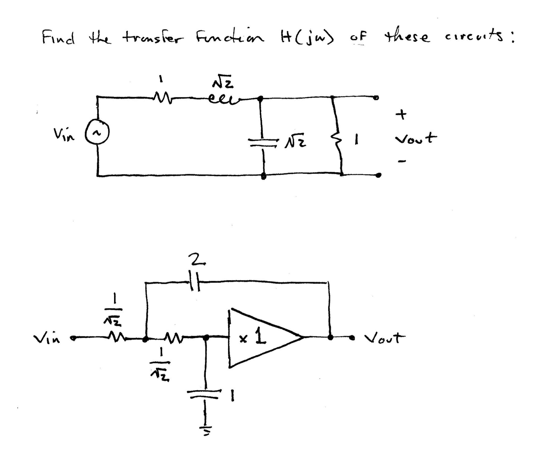 Find the transfer function H(jw) of these circuits