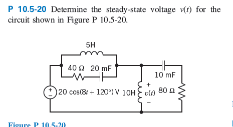 Determine The steady-slate voltage v(t) for the ci
