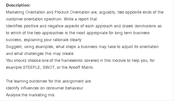 Solved: Description: Marketing Orientation And Product Ori ...