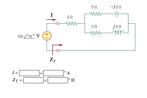 Determine I and Zt for the circuit in the figure.