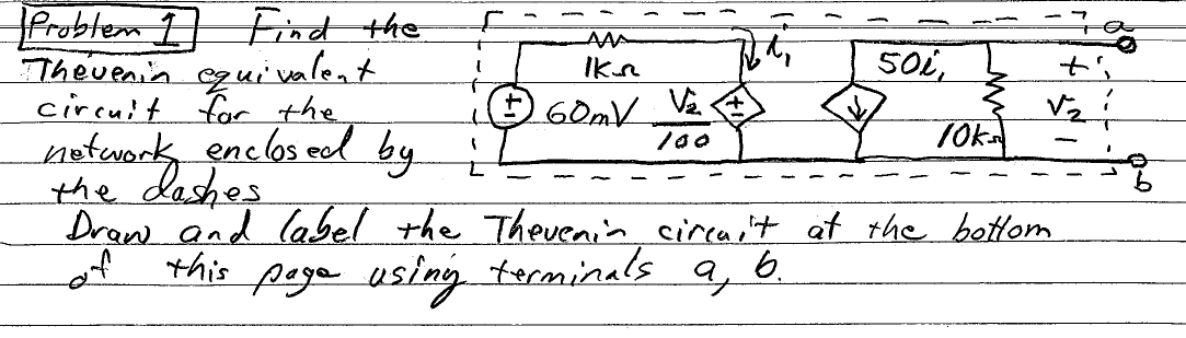 Find the Thevein equivalent circuit for the networ