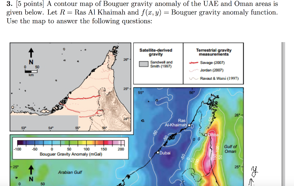 5 points a contour map of bouguer gravity anomaly of the uae