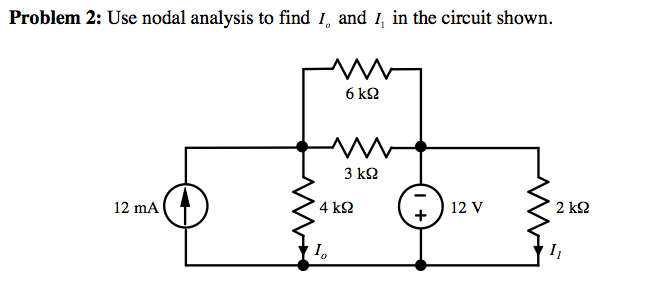 Use nodal anaysis to find Io and I1 in the circuit