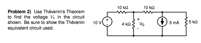 Use Thevenin's Theorem to find the voltage V0 in t